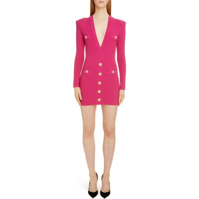 Balmain Diamond Knit Long Sleeve Sweater Dress, US / 40 FR - Pink