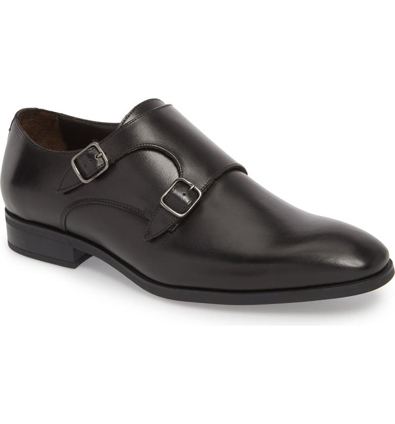 TO BOOT NEW YORK Benjamin Double Monk Strap Shoe, Main, color, BLACK LEATHER