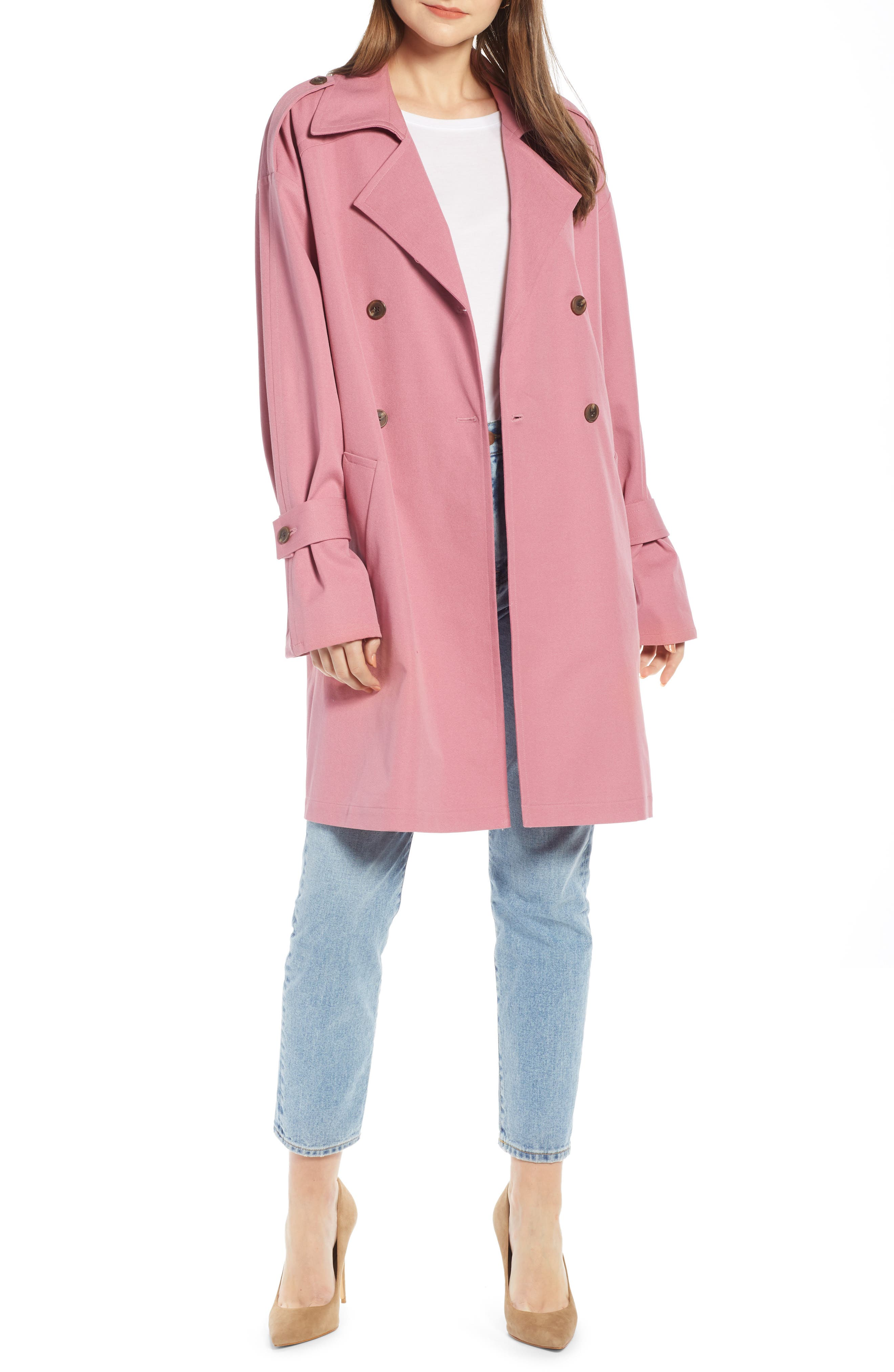 ,                             Easy Oversize Trench,                             Main thumbnail 1, color,                             PINK HEATHER