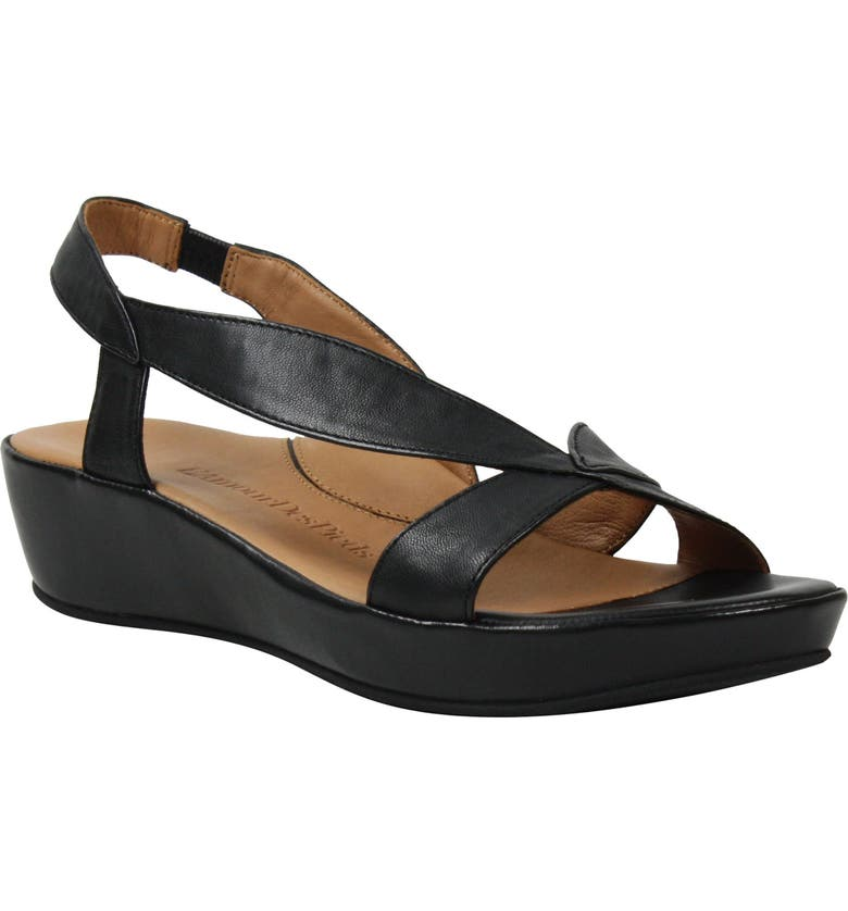 L'AMOUR DES PIEDS Crotono Sandal, Main, color, BLACK NAPPA LEATHER