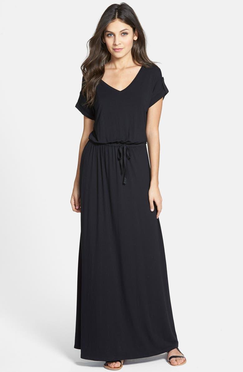 CASLON<SUP>®</SUP> Roll Sleeve V-Neck Maxi Dress, Main, color, 001