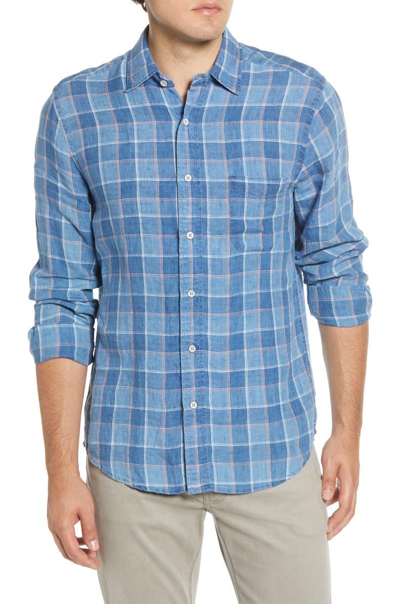 FAHERTY Regular Fit Box Check Linen Button-Up Sport Shirt, Main, color, INDIGO BOX CHECK