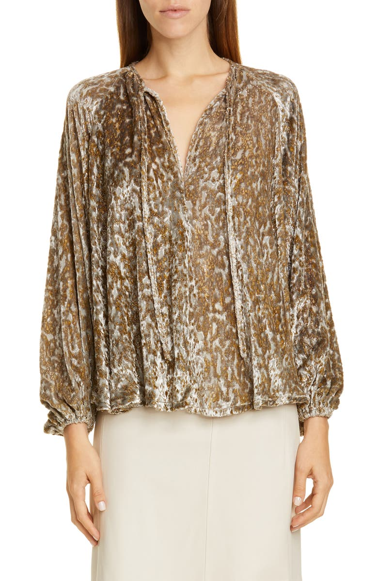 CO Embroidered Velvet Balloon Sleeve Top, Main, color, GOLD