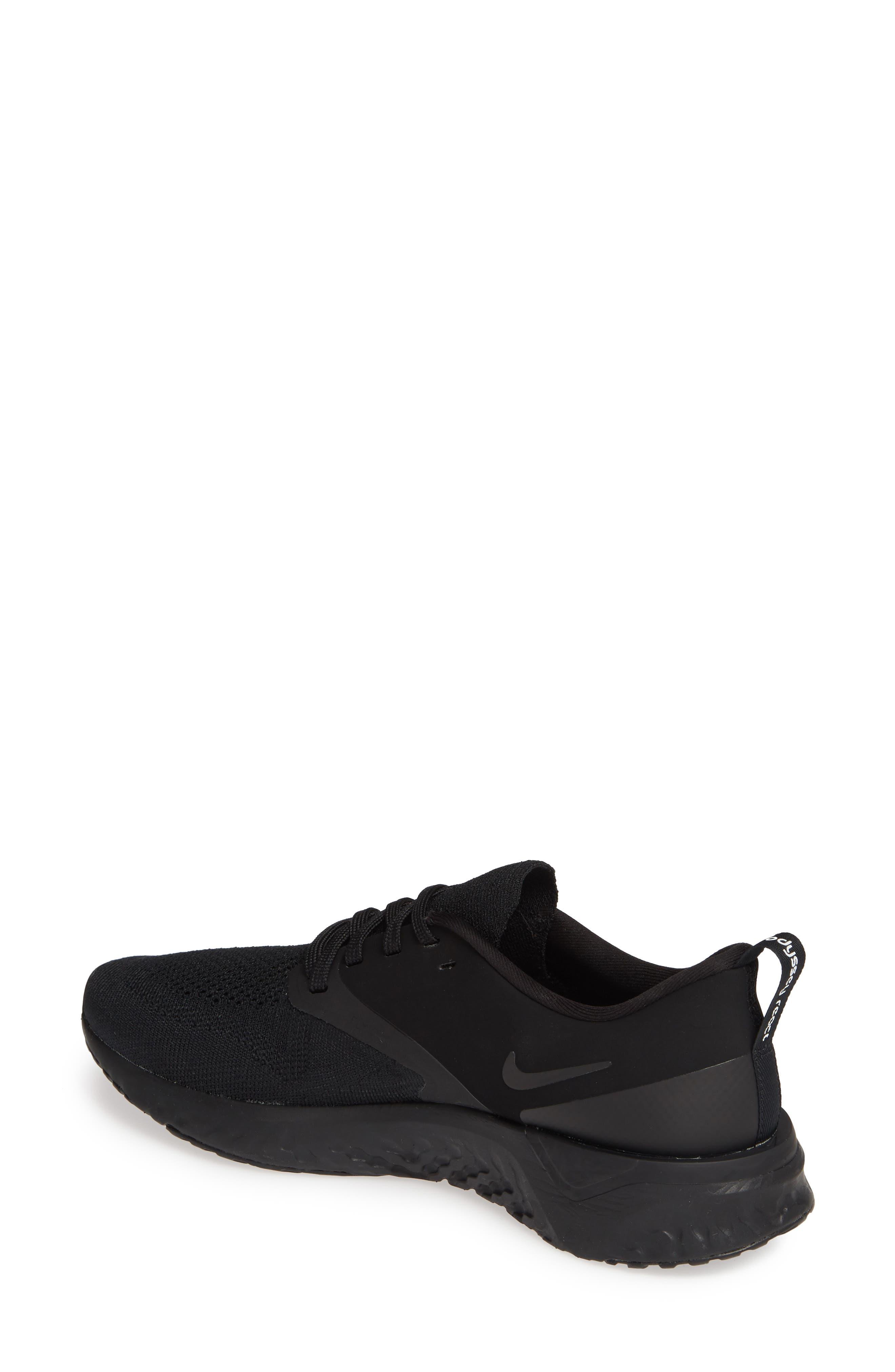 ,                             Odyssey React 2 Flyknit Running Shoe,                             Alternate thumbnail 2, color,                             BLACK/ BLACK/ WHITE