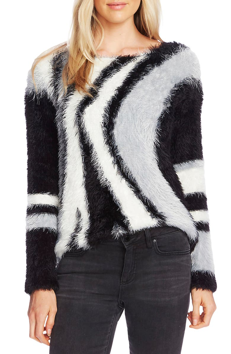VINCE CAMUTO Abstract Stripe Eyelash Sweater, Main, color, RICH BLACK