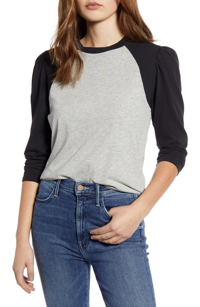 LUCKY BRAND Puff Sleeve Cotton Baseball T-Shirt, Main, color, BLACK/ GREY HEATHER
