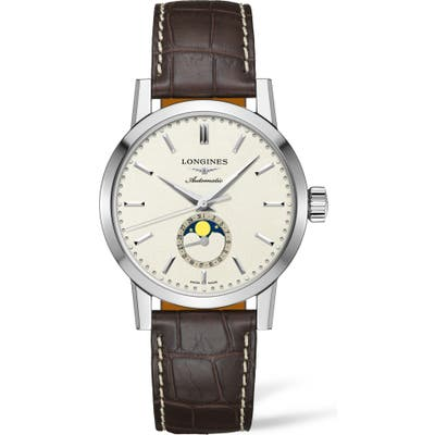 Longines 1832 Automatic Moon Phase Alligator Leather Strap Watch, 42Mm