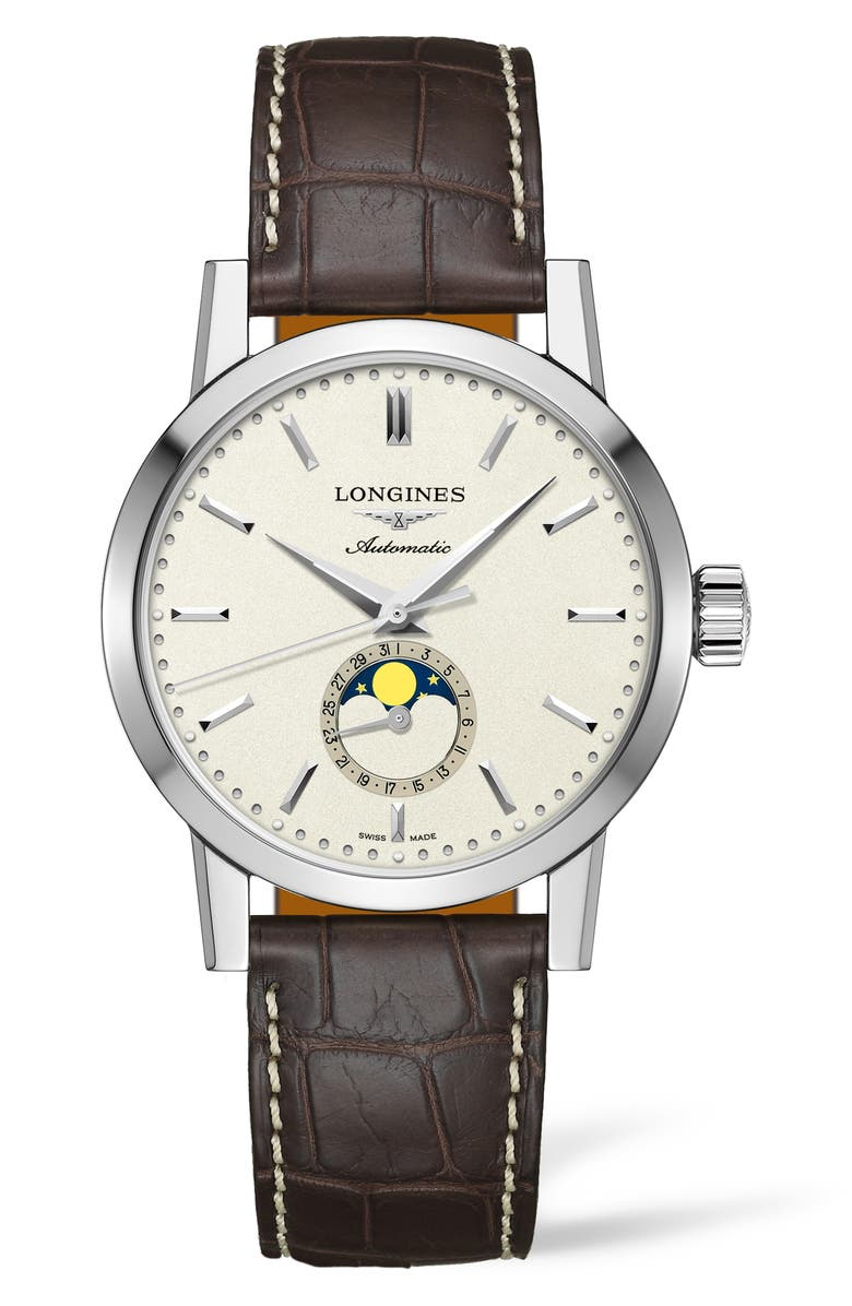 LONGINES 1832 Automatic Moon Phase Alligator Leather Strap Watch, 42mm, Main, color, 200