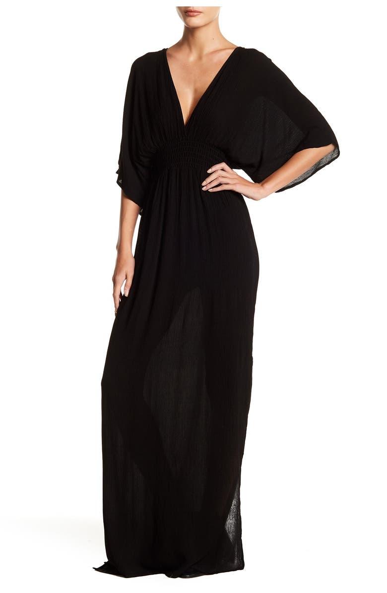 LOVESTITCH Gauze Kimono Maxi Dress, Main, color, BLACK