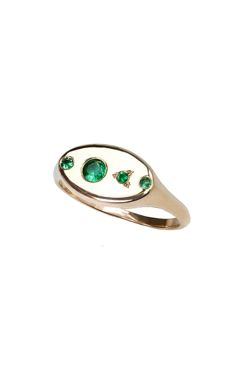 WWAKE Monolith Emerald Signet Ring, Main, color, YELLOW GOLD/ EMERALD