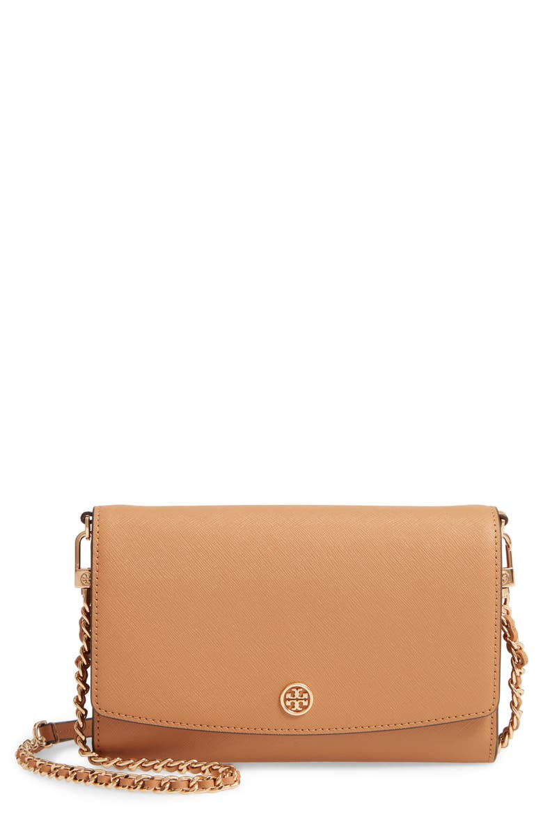 TORY BURCH Robinson Leather Wallet on a Chain, Main, color, CARDAMOM