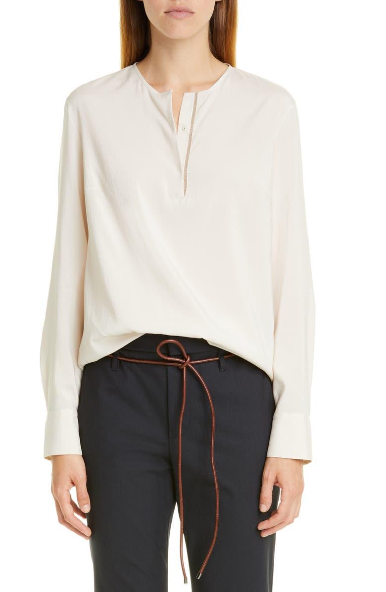 BRUNELLO CUCINELLI Monili Trim Long Sleeve Stretch Silk Blouse, Main, color, 900