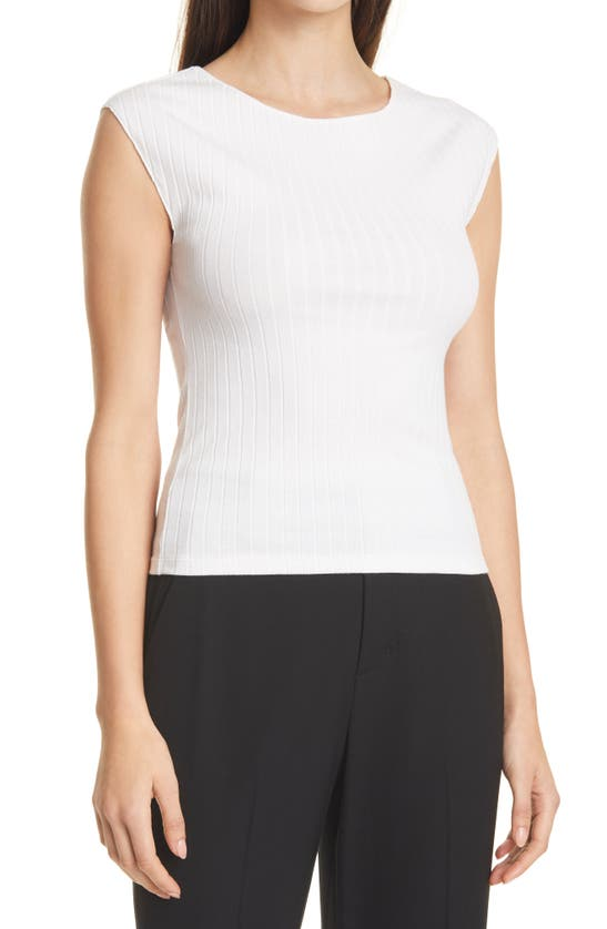Vince Vests CAMUTO CAP SLEEVE BOAT NECK RIBBED TOP