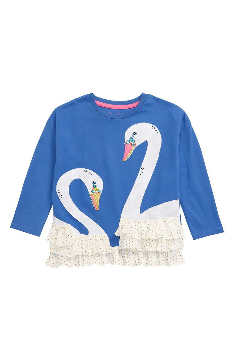 MINI BODEN Frilly Unicorn Long Sleeve T-Shirt, Main, color, BLU SKY BLUE SWAN