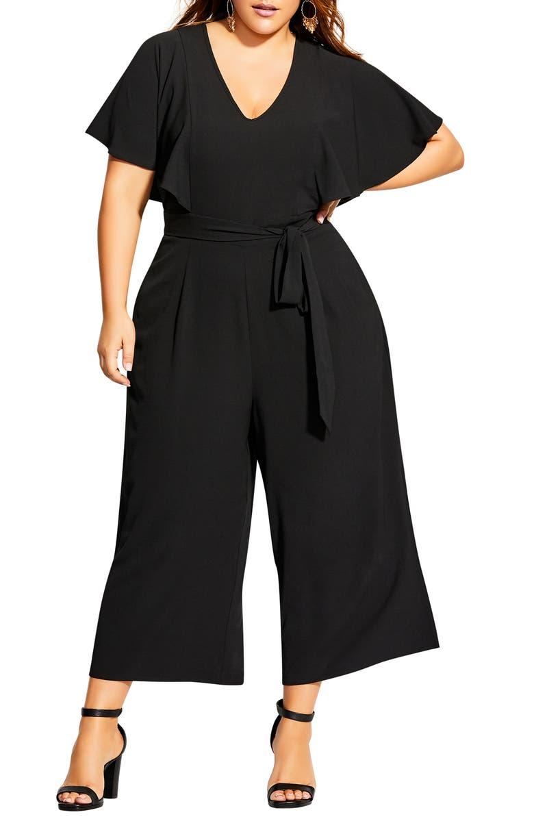 CITY CHIC Romantic Flutter Sleeve Wide Leg Jumpsuit, Main, color, BLACK