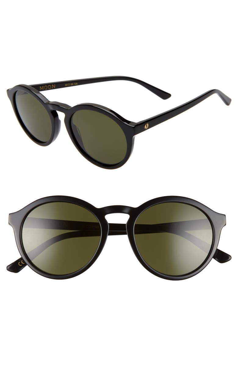 ELECTRIC Moon 52mm Round Sunglasses, Main, color, GLOSS BLACK/ GREY