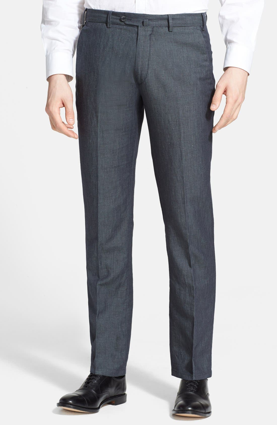 ,                             Armani Collezioni Flax & Cotton Flat Front Trousers,                             Main thumbnail 1, color,                             034