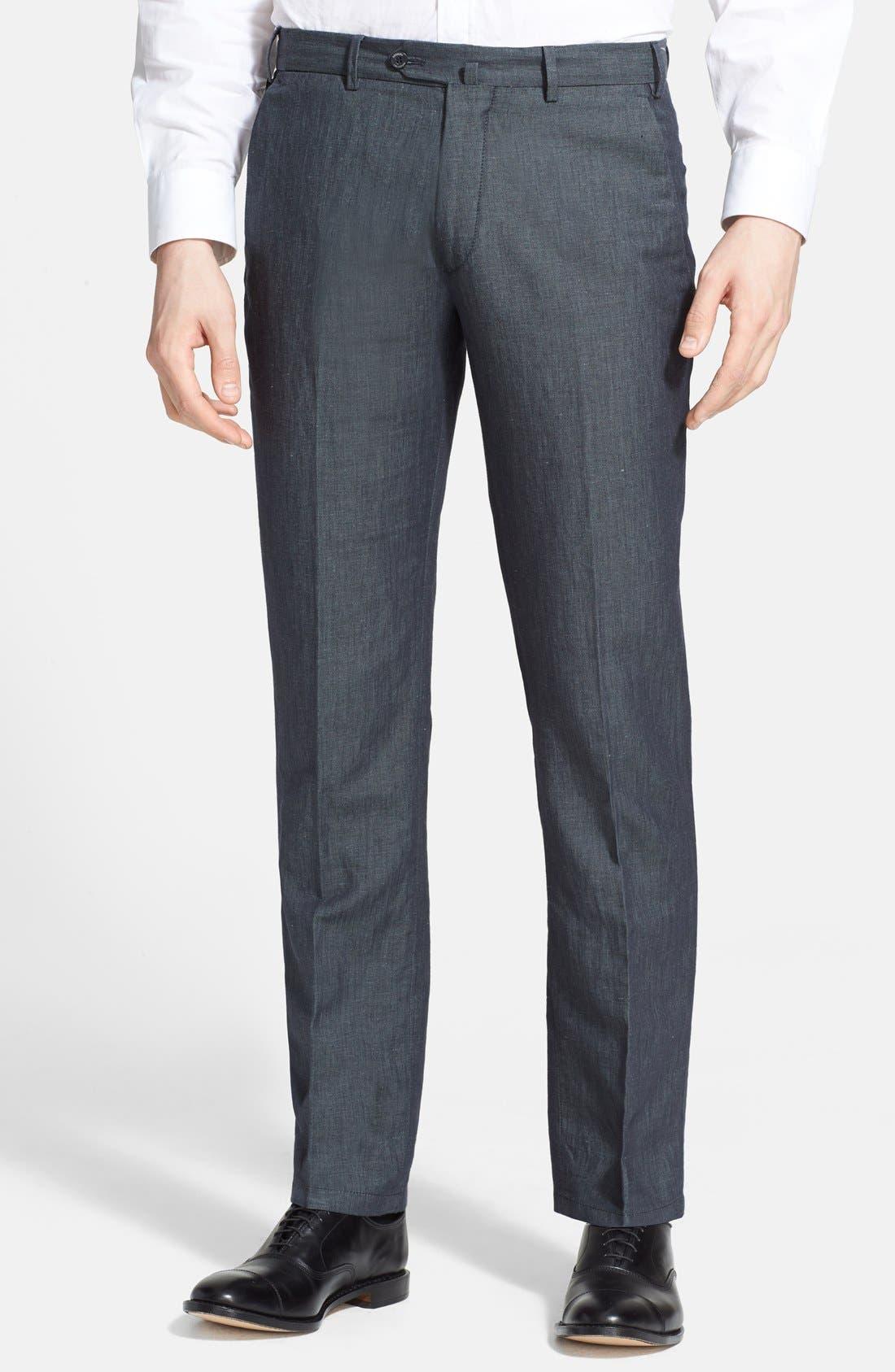 Armani Collezioni Flax & Cotton Flat Front Trousers, Main, color, 034