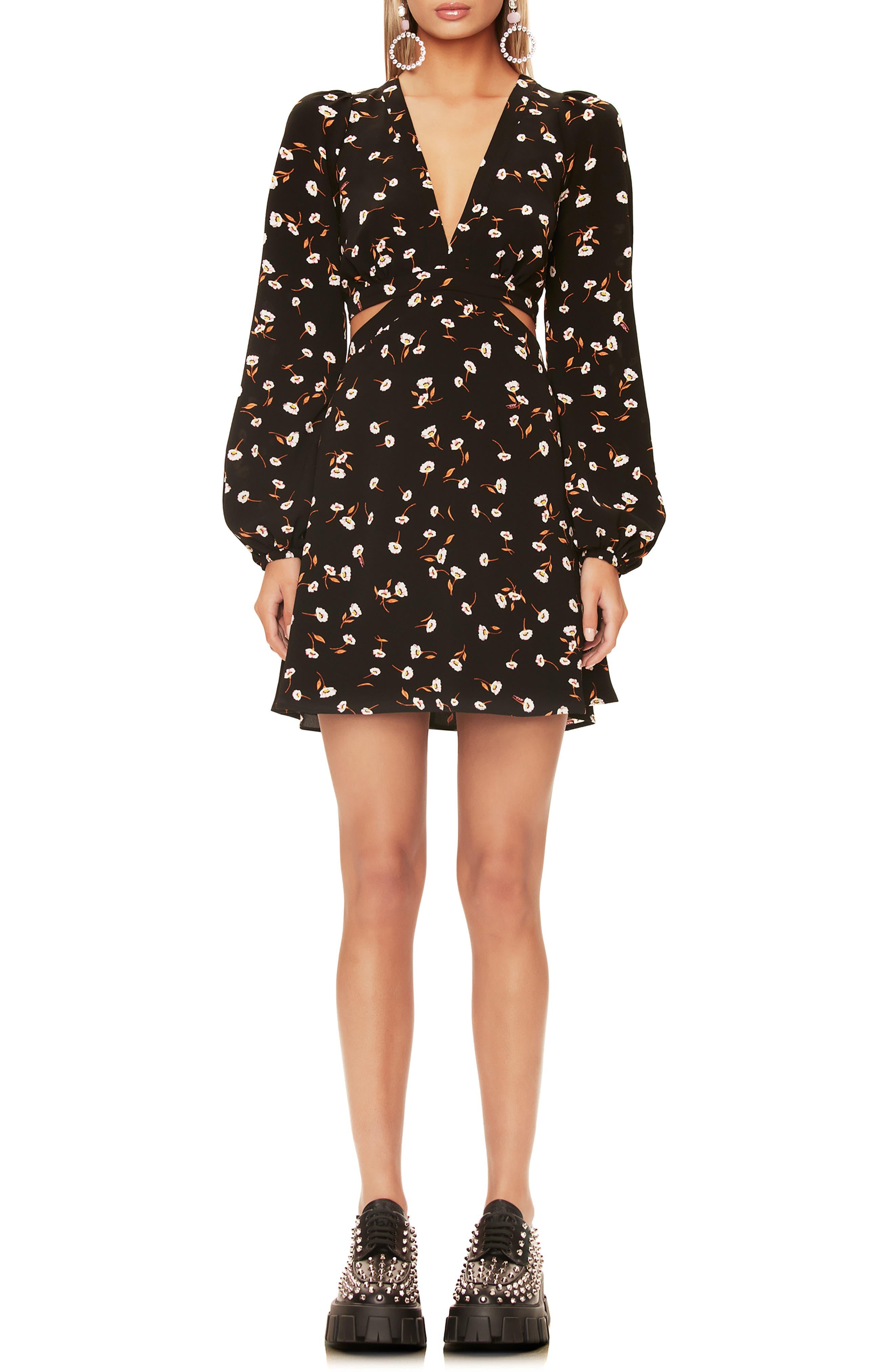 Evie Lace-Up Back Long Sleeve Minidress