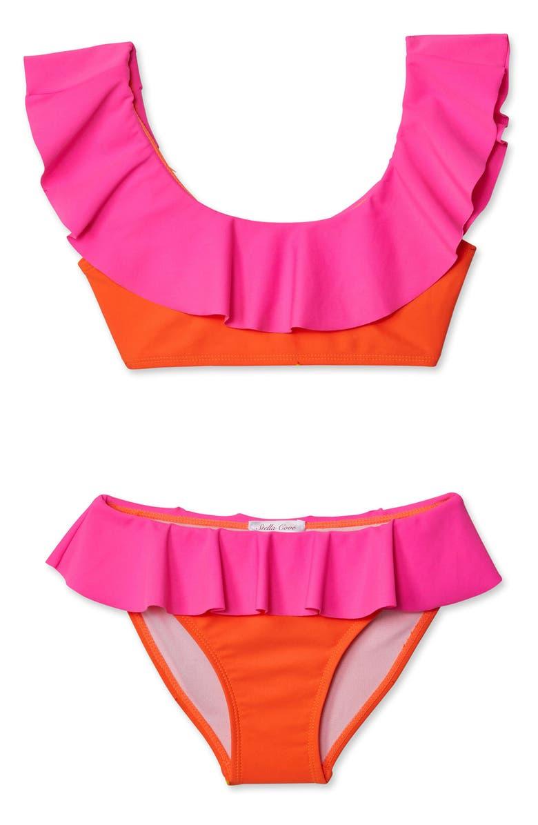 STELLA COVE Bright Neon Ruffle Two-Piece Swimsuit, Main, color, MULTICOLOR