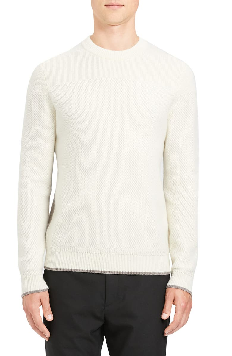 THEORY Winlo Slim Fit Crewneck Wool & Cashmere Sweater, Main, color, NATURAL/ BUFF
