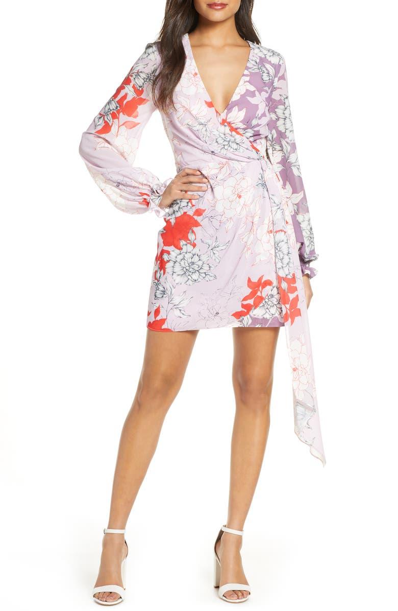 MARK + JAMES BY BADGLEY MISCHKA Badgley Mischka Twin Print Faux Wrap Long Sleeve Minidress, Main, color, LILAC MULTI