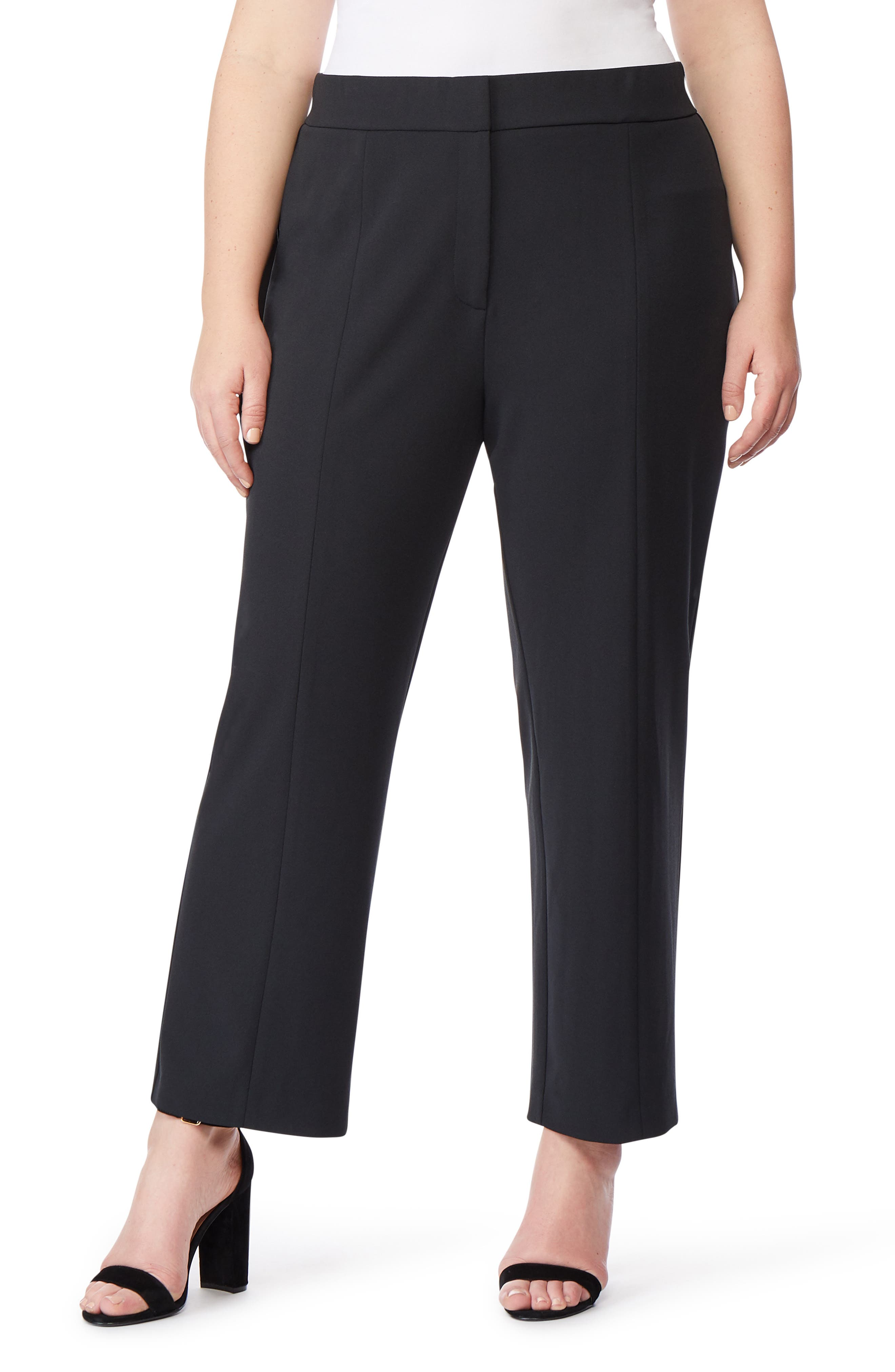 Ponte Ankle Trousers, Main, color, BLACK