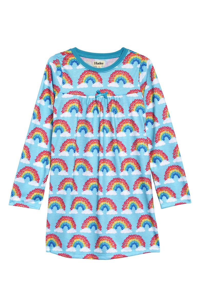 HATLEY Magical Rainbows Long Sleeve Nightgown, Main, color, BLUE