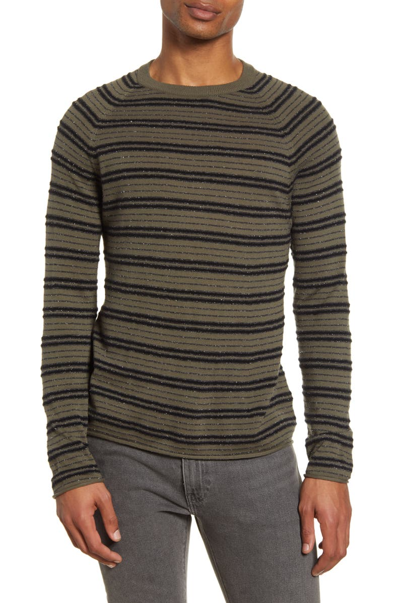 BILLY REID Bouclé Stripe Cotton & Cashmere Sweater, Main, color, OLIVE