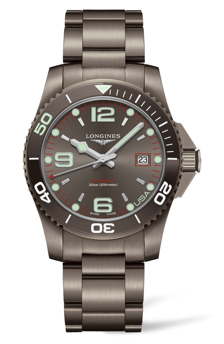 LONGINES HydroConquest Automatic Bracelet Watch, Main, color, GREY