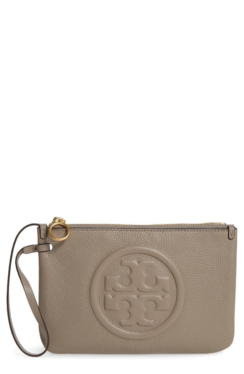 TORY BURCH Perry Leather Wristlet, Main, color, GRAY HERON