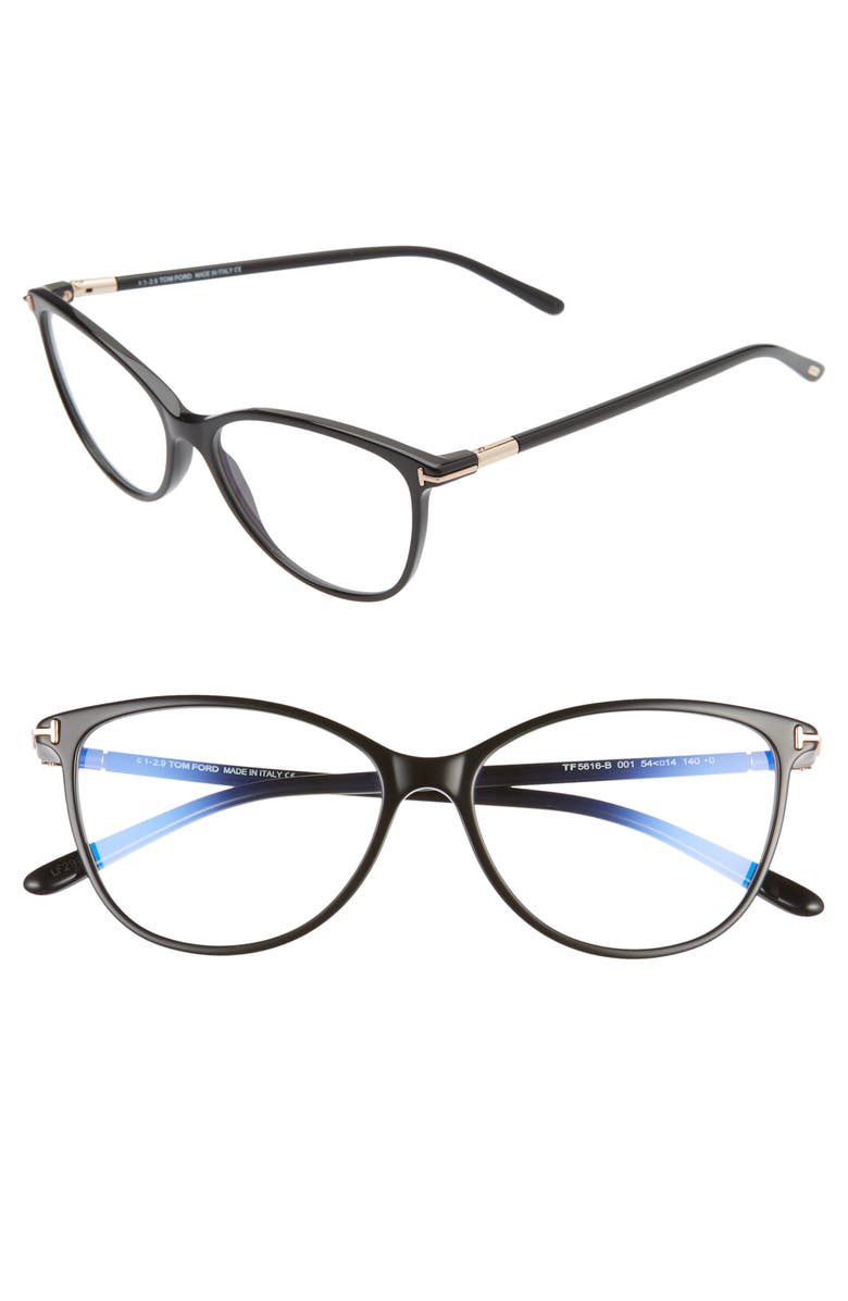 TOM FORD 54mm Blue Light Blocking Optical Glasses, Main, color, 001