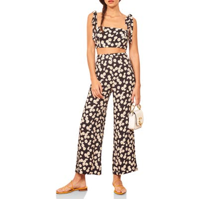 Reformation Tiki Print Tie Shoulder Two-Piece Jumpsuit, Black