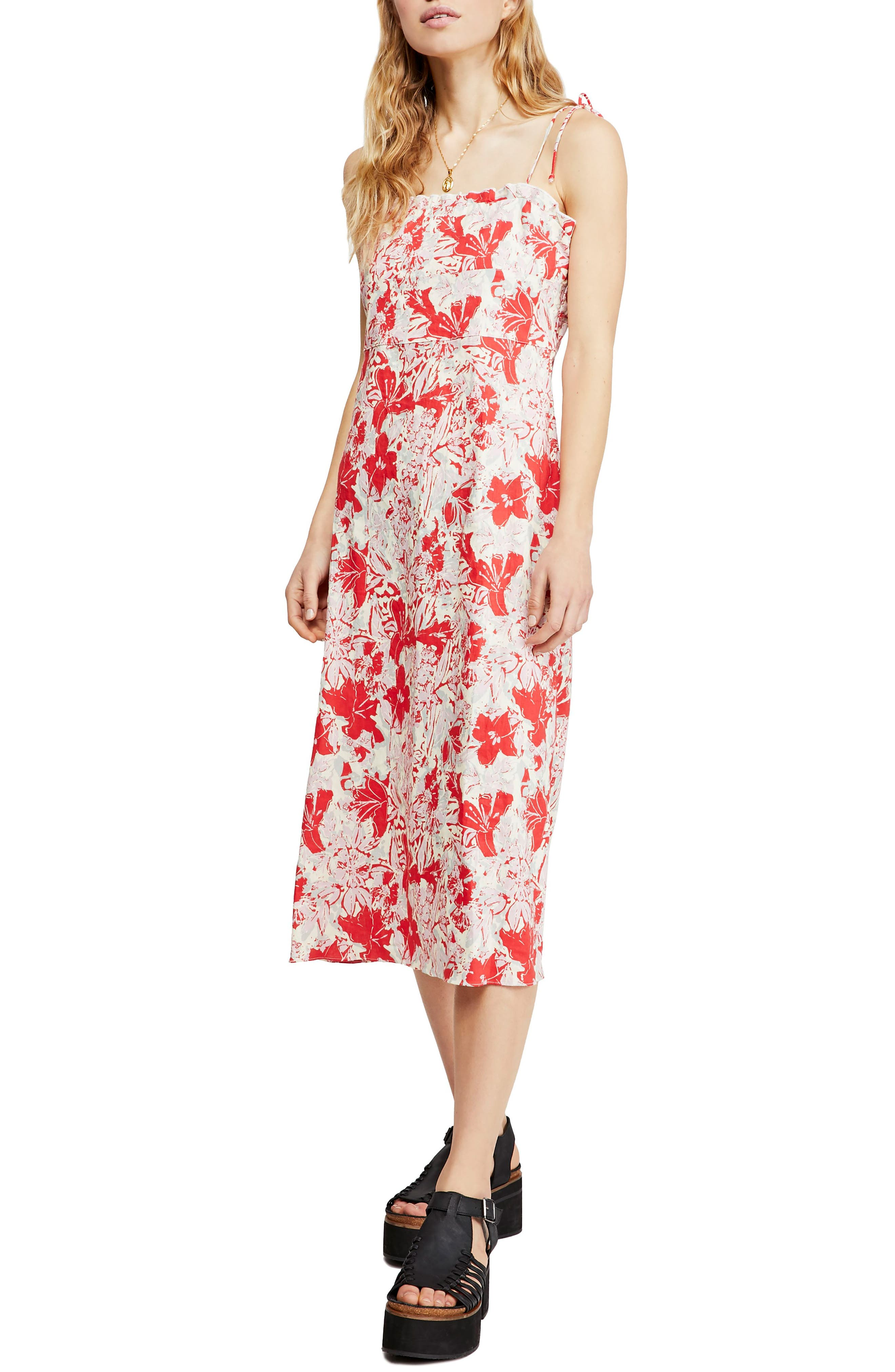 Free People Beach Party Tie Shoulder Midi Dress, Red