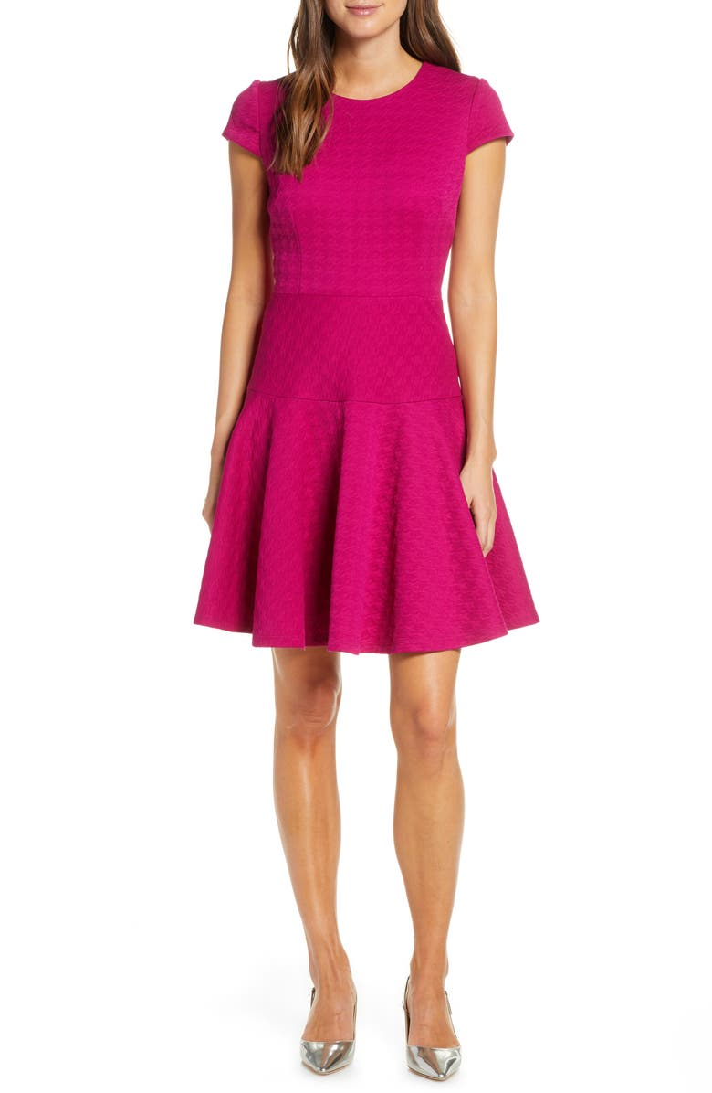ELIZA J Jacquard Knit Fit & Flare Dress, Main, color, 650