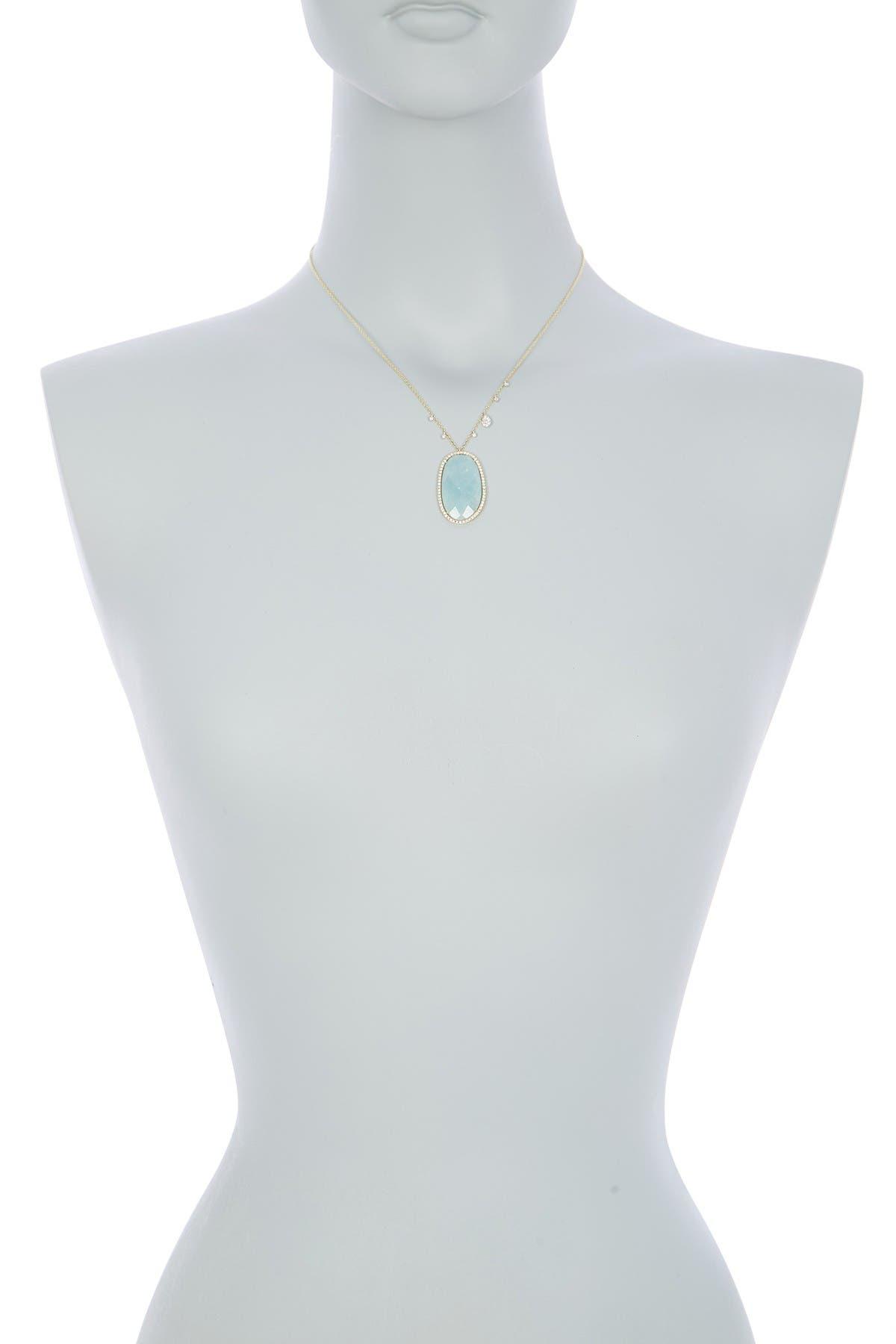 Meira T 14k Yellow Gold Diamond Accent Aquamarine Pendant Necklace
