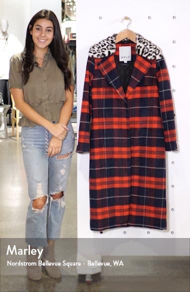 Faux Fur Collar Plaid Long Coat, sales video thumbnail