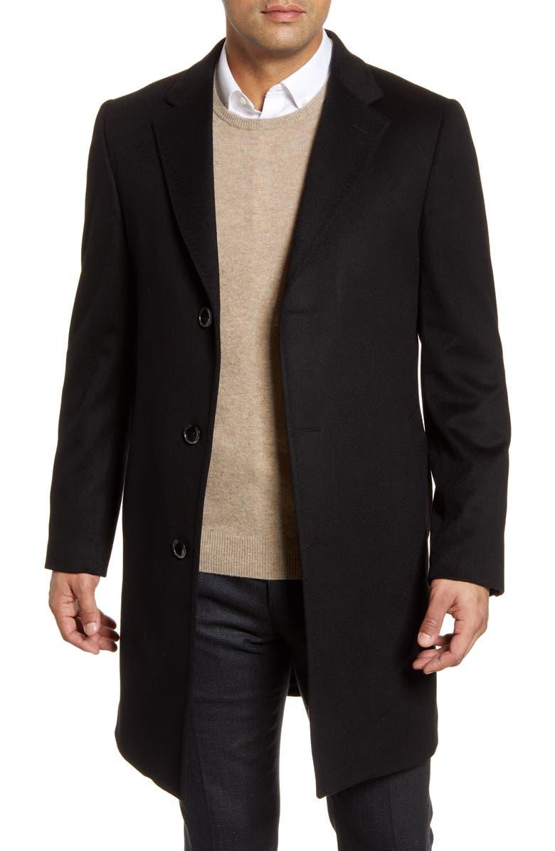 NORDSTROM SIGNATURE Darien Solid Cashmere Overcoat, Main, color, BLACK CAVIAR