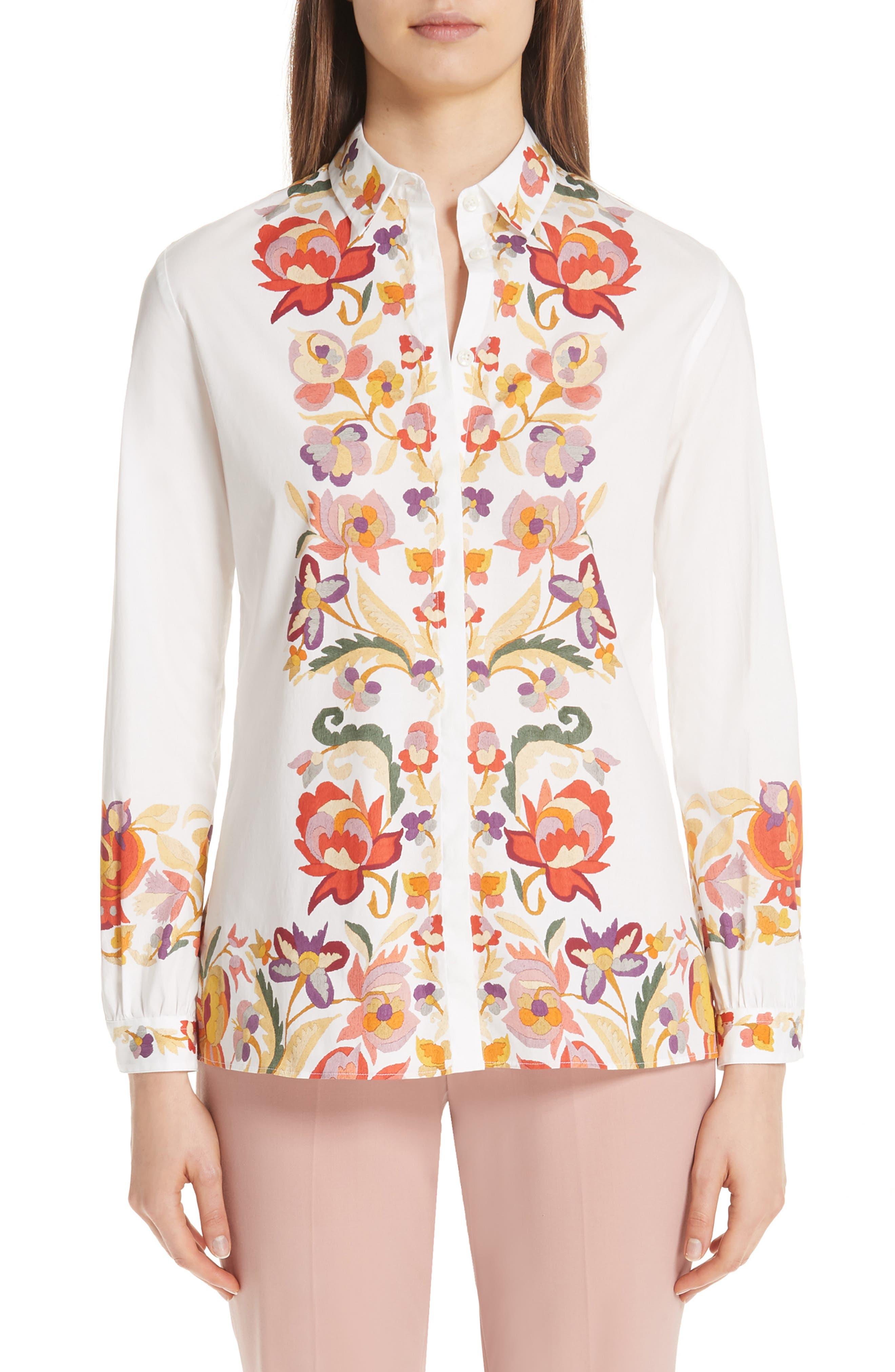 ,                             Floral Print Stretch Cotton Shirt,                             Main thumbnail 1, color,                             WHITE