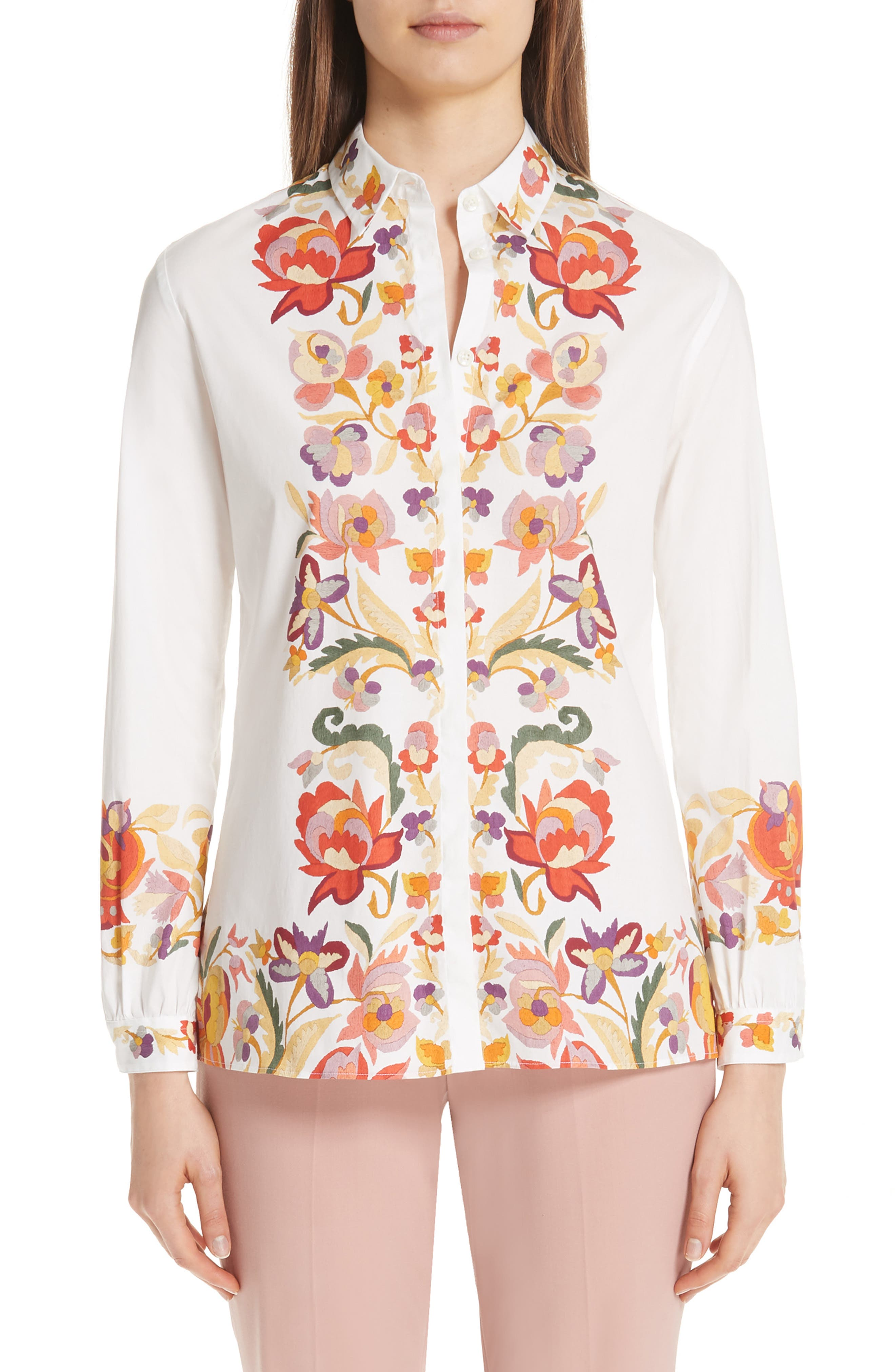 Floral Print Stretch Cotton Shirt, Main, color, WHITE