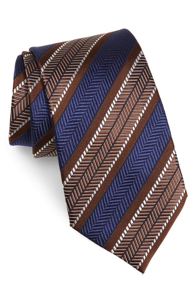 ERMENEGILDO ZEGNA Herringbone Stripe Silk Tie, Main, color, BROWN