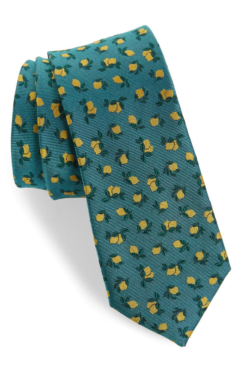 THE TIE BAR Luedke Lemon Print Silk Tie, Main, color, TEAL