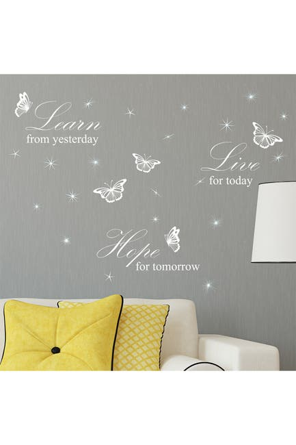 Image of WalPlus Learn Live Hope Quote & Swarovski Crystal Wall Sticker Set