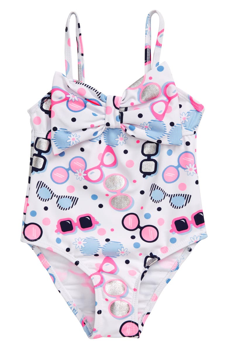 FLAPDOODLES Sunglasses Print One-Piece Swimsuit, Main, color, WHITE