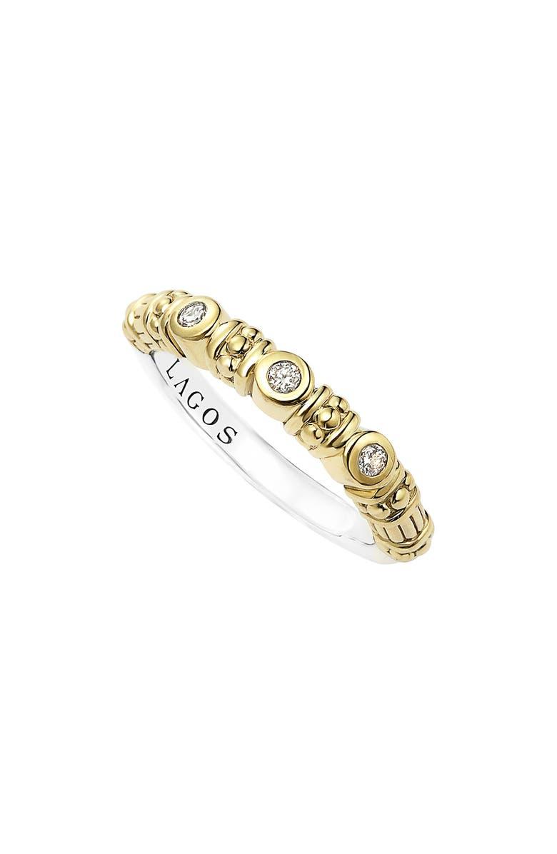 LAGOS Three Diamond Stacking Ring, Main, color, 710