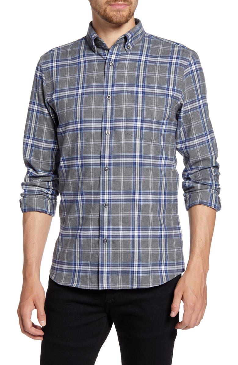 NORDSTROM MEN'S SHOP Regular Fit Plaid Button-Down Shirt, Main, color, GREY HEATHER BLUE PLAID