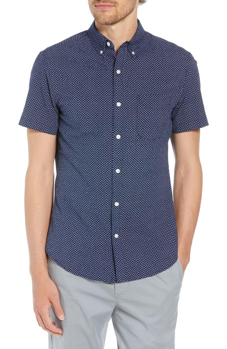 BONOBOS Slim Fit Poppy Print Shirt, Main, color, DUANE FLOWER DEEP PACIFIC