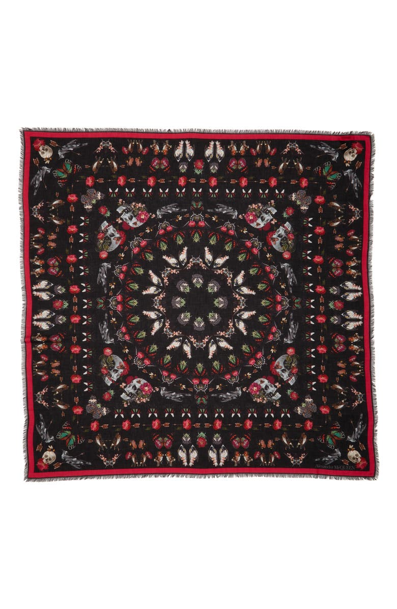 ALEXANDER MCQUEEN Nocturnal Love Modal & Wool Scarf, Main, color, 1072 BLACK/ PINK