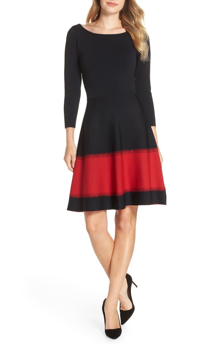 ELIZA J Contrast Stripe Fit & Flare Dress, Main, color, BLACK