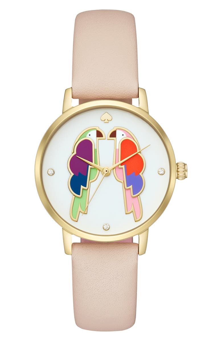 KATE SPADE NEW YORK metro parrot leather strap watch, 34mm, Main, color, 250